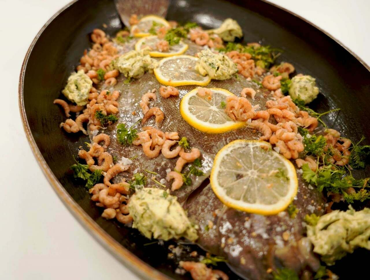 Lemon Sole with Brown Shrimp and Garlic & Herb Butter