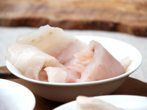 Raw turbot misshapes in a bowl