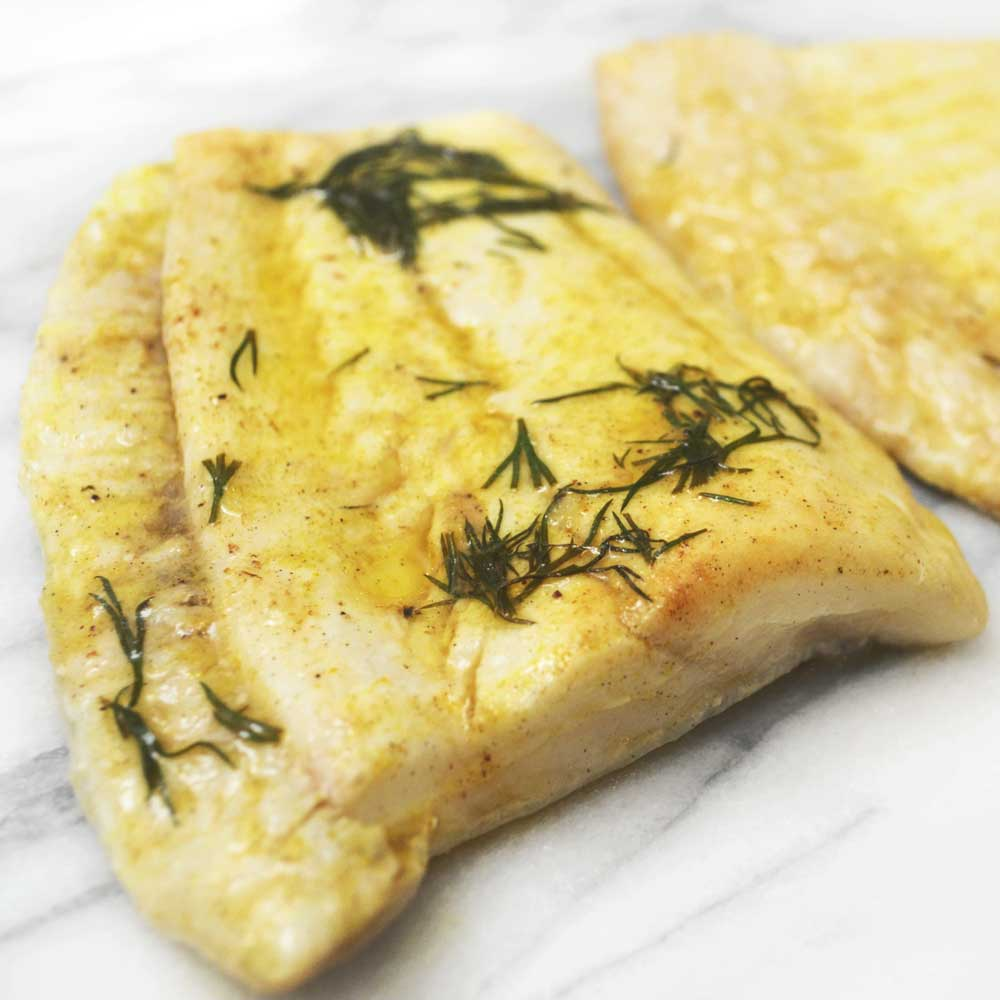 Brill fillet steak cooked in butter and dill