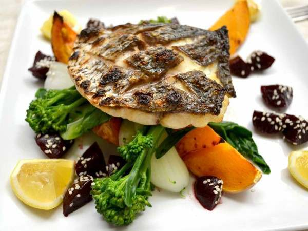 Stone bass fillet portions - grilled shot