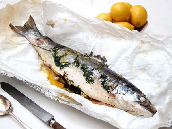 Whole wild sea trout cooked