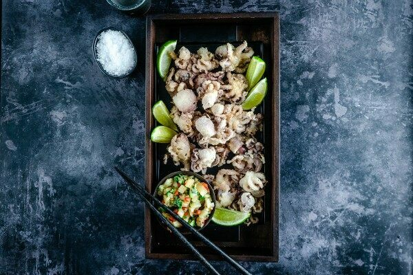 Crispy baby octopus with chilli and pineapple salsa