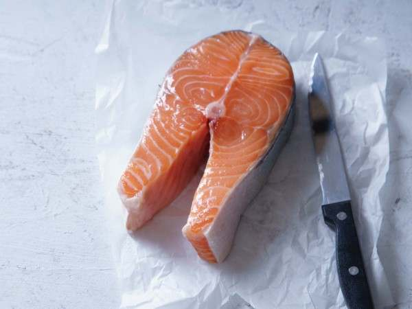 Salmon on the bone steak - a traditional touch