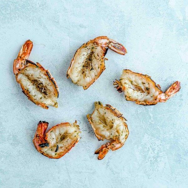 butterfly king prawns marinated in garlic and parsley