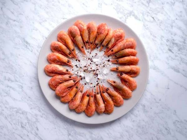 A plate of smoked prawns