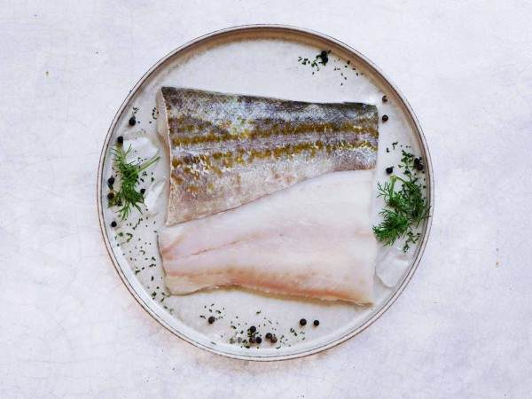 Two raw cod fillet portions
