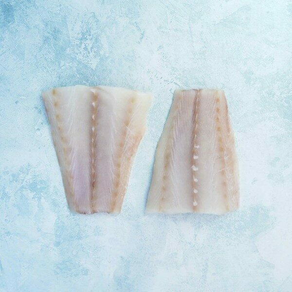 Skinless cod fillet portions