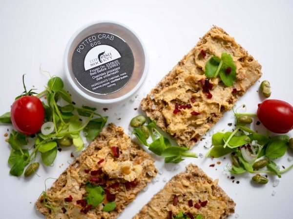 Potted crab on cracker bread