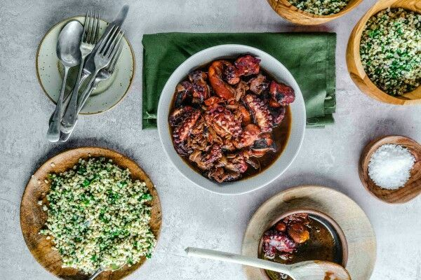 Octopus stew with tabbouleh