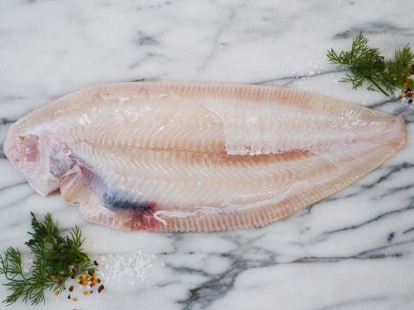Raw skinless Dover sole