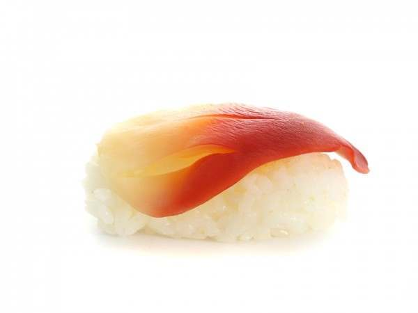 An arctic surf clam on a rice ball