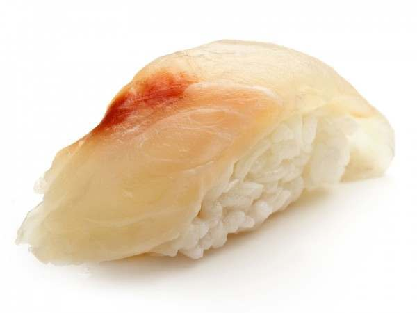 Suzuki sea bass sashimi on a rice ball
