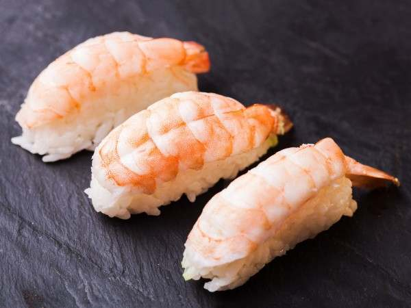Ebi prawns on a rice ball ready to eat