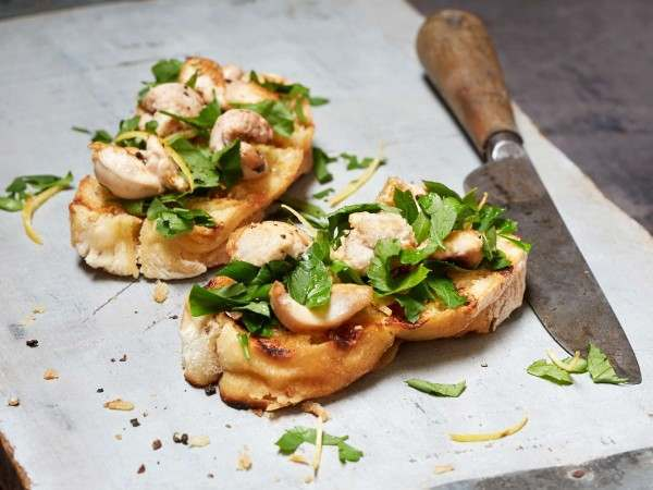 Herring melts on toast with parsley