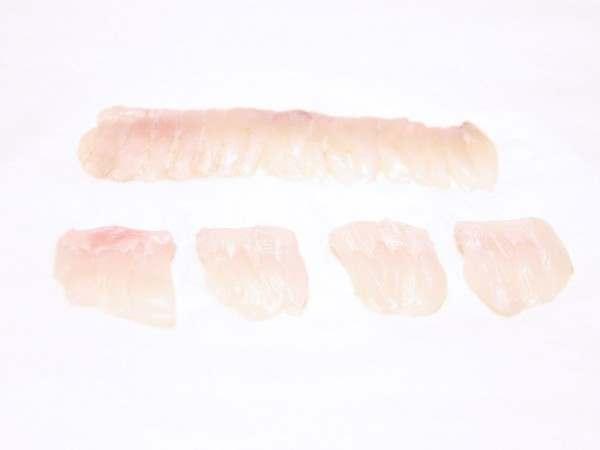 Sliced raw turbot engawa