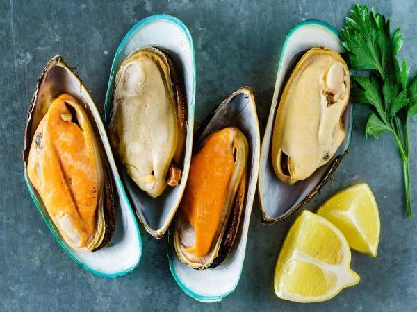 New Zealand half shell green lipped mussels