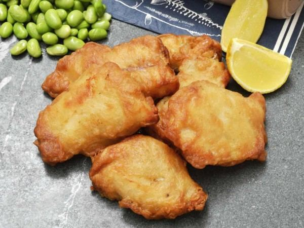 Cooked battered cod goujons