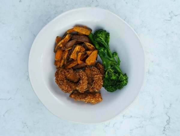 Breaded Scampi with Sweet Potato Wedges and Tenderstem Broccoli