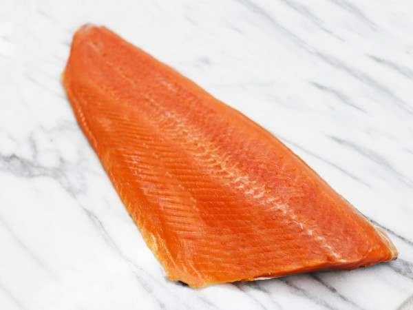 wild salmon fillet white background