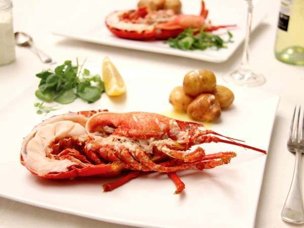 Our best dressed lobster on a plate with new potatoes and salad