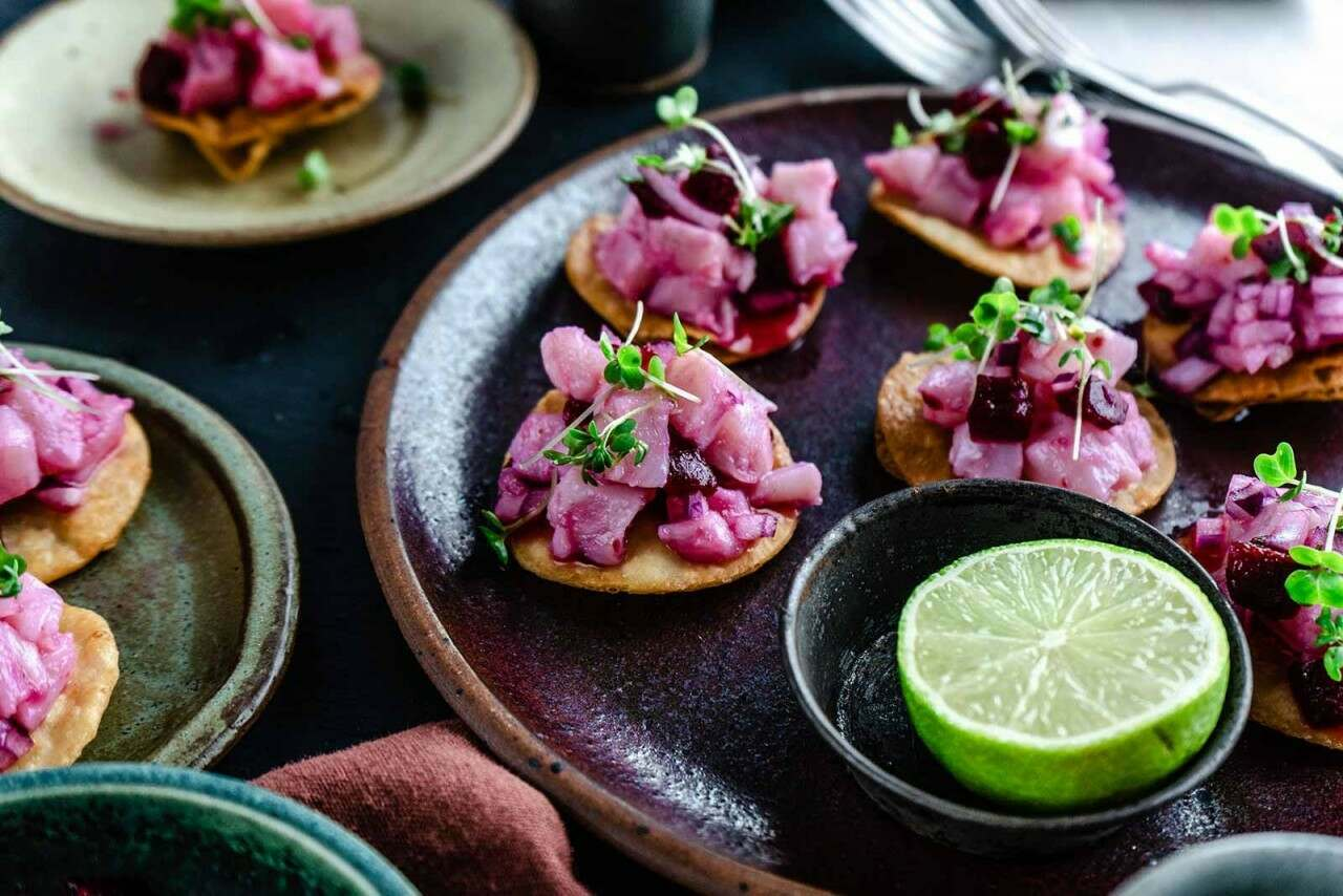 Sea bass ceviche with beetroot canapes