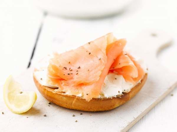 Fishrjumpin smoked salmon on a toasted bagel with cream cheese
