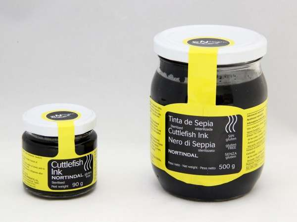 A small and large jar of cuttlefish ink