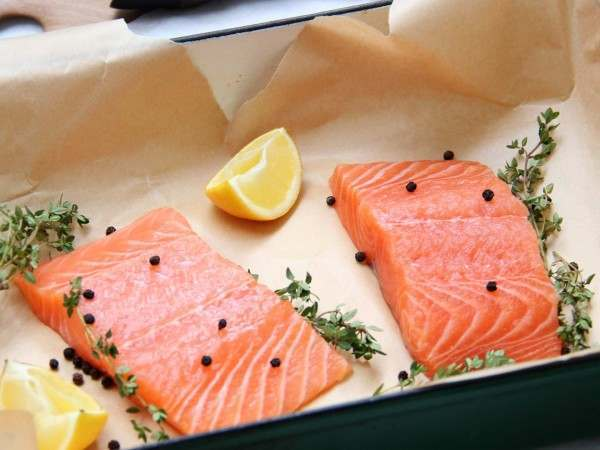 Organic Scottish salmon ready to be baked in the oven