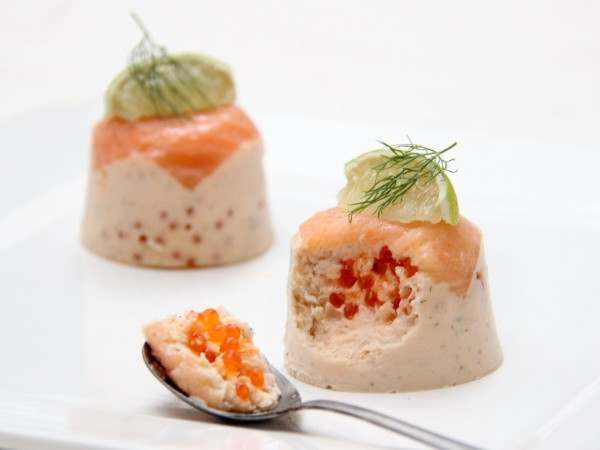 A spoonful of smoked salmon mousse