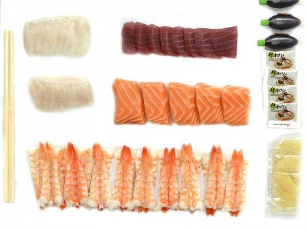 A variety of sashimi from different species of fish
