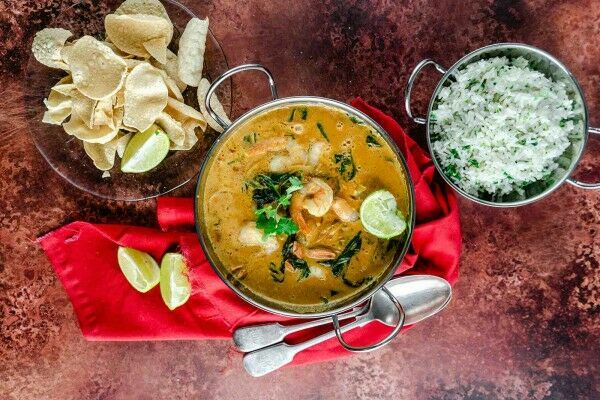 Prawn and coconut curry with spinach