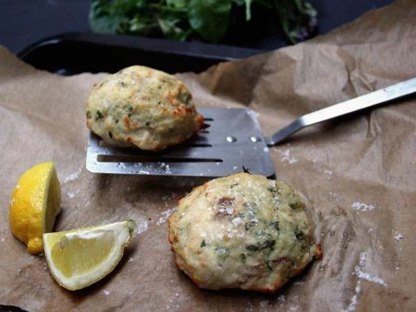 Two smoked haddock and bacon fish cakes freshly cooked