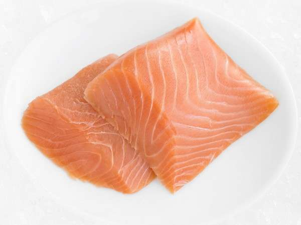 Two portions of royal smoked salmon fillet - cold smoked